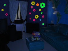 Neon Groovy Flowers Black Light Reactive Wall Decorations