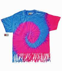 Neon Pink And Blue Tie Dye Fringe Ladies T-shirt