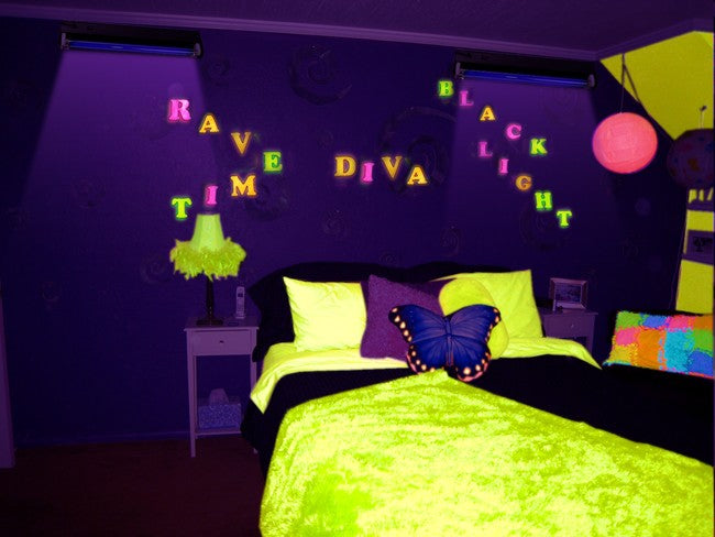 Neon Rainbow Alphabet Black Light Reactive Wall Decoration (25 pcs)