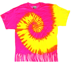 Neon Yellow and Pink Tie Dye Fringe Kids T-shirt