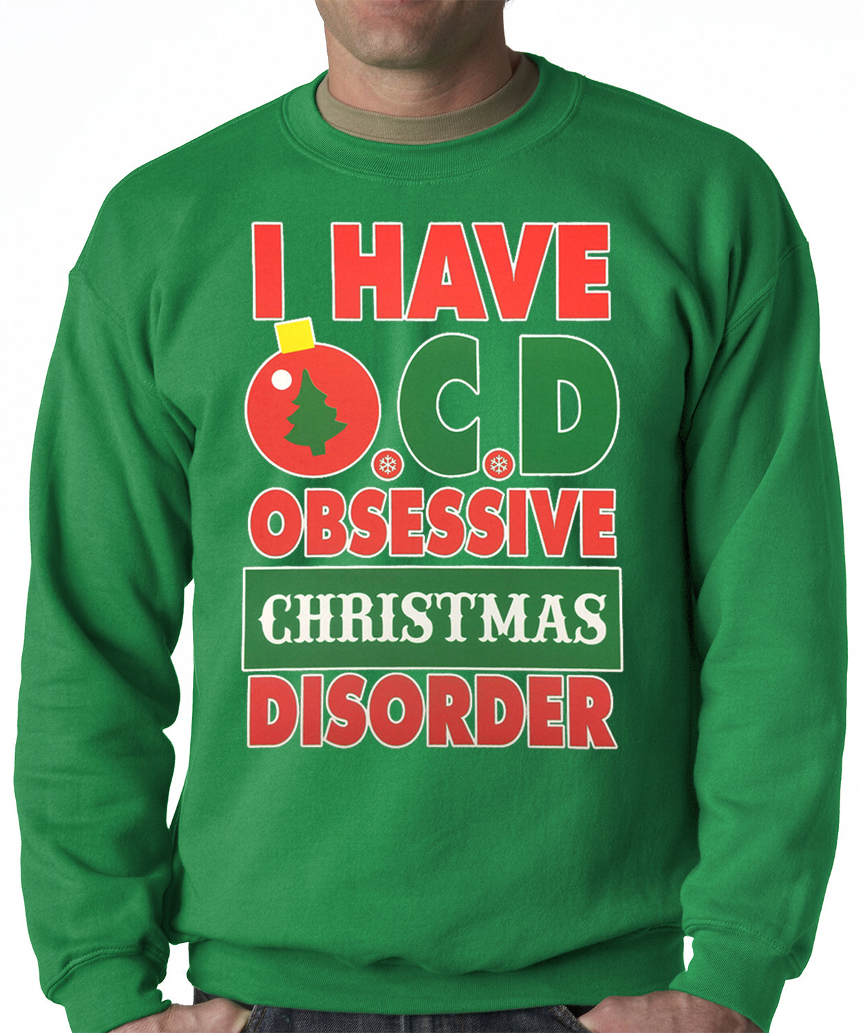 OCD-Obsessive Christmas Disorder Adult Crewneck