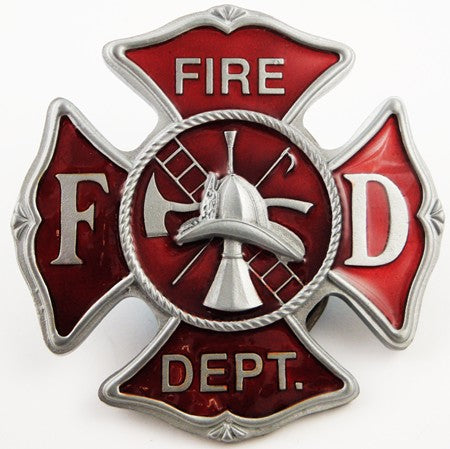 Official Fire Dept. Belt Buckle With FREE Leather Belt
