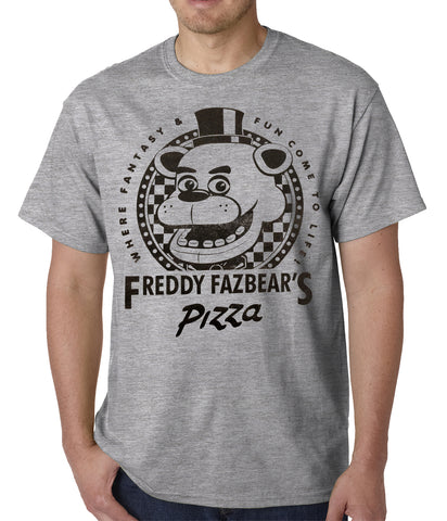 premium selection 79d9c 6b5ef Official Five Nights at Freddy s Fazbears Pizza Mens T-Shirt (Heather Grey)