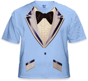 Old Skool Ruffled Light Blue Tuxedo T-Shirt
