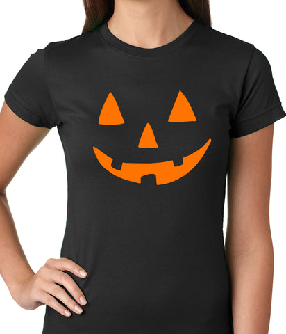 Halloween Tshirt - Orange Jack O' Lantern Womens T-shirt