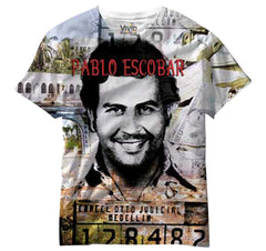 Pablo Escobar All Over Sublimation Print Mens T-shirt