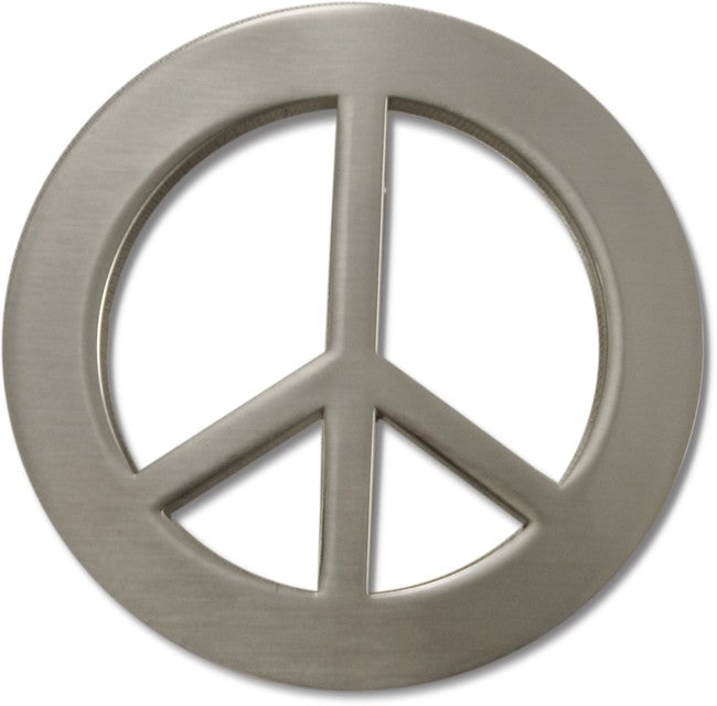 Peace Sign Belt Buckle With Free Leather Belt Bewild