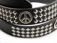 Peace Sign Pyramid Studded Leather Belt