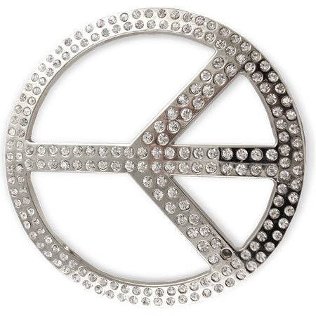 Peace Sign Rhinestone Belt Buckle With FREE Leather Belt
