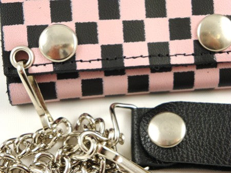 Pink Checkerboard Genuine Leather Chain Wallet