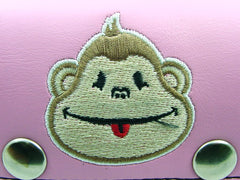 Pink Monkey Embroidered Chain Wallet