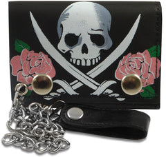 Pink Rose Jolly Roger Genuine Leather Chain Wallet