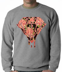 Pink Roses Dripping Diamond Adult Crewneck