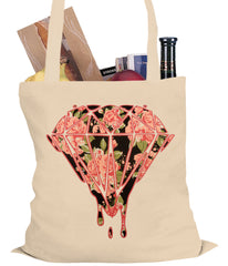 Pink Roses Dripping Diamond Tote Bag
