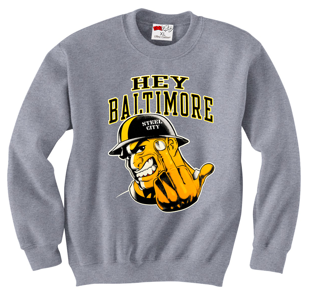 Hey Baltimore - Pittsburgh guy with Middle Finger Adult Crewneck