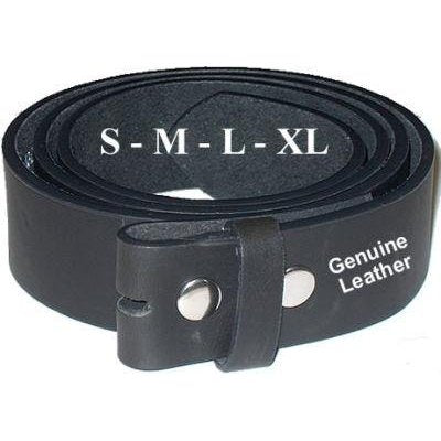 Plain Black Leather Belt for use with any Belt Buckle