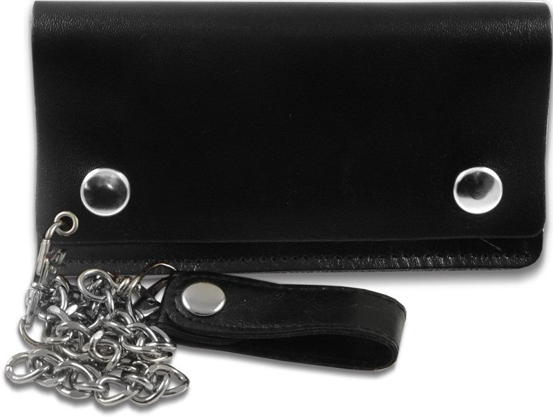 Plain Leather 6 Inch Biker Chain Wallet