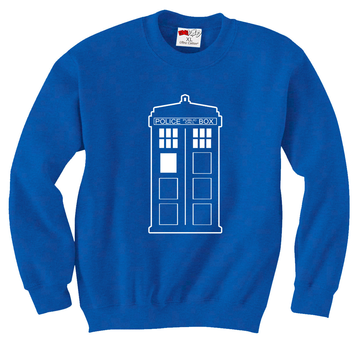 Police Box Phone Booth Tardis Crew Neck Sweatshirt
