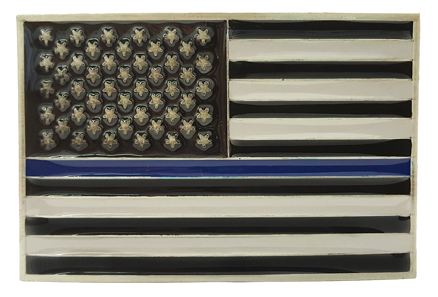 Police Thin Blue Line American Flag Belt Buckle with Leather Belt