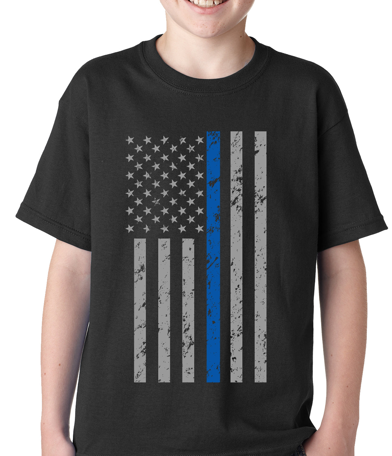 Police Thin Blue Line American Flag - Support Police Department Kids T-shirt