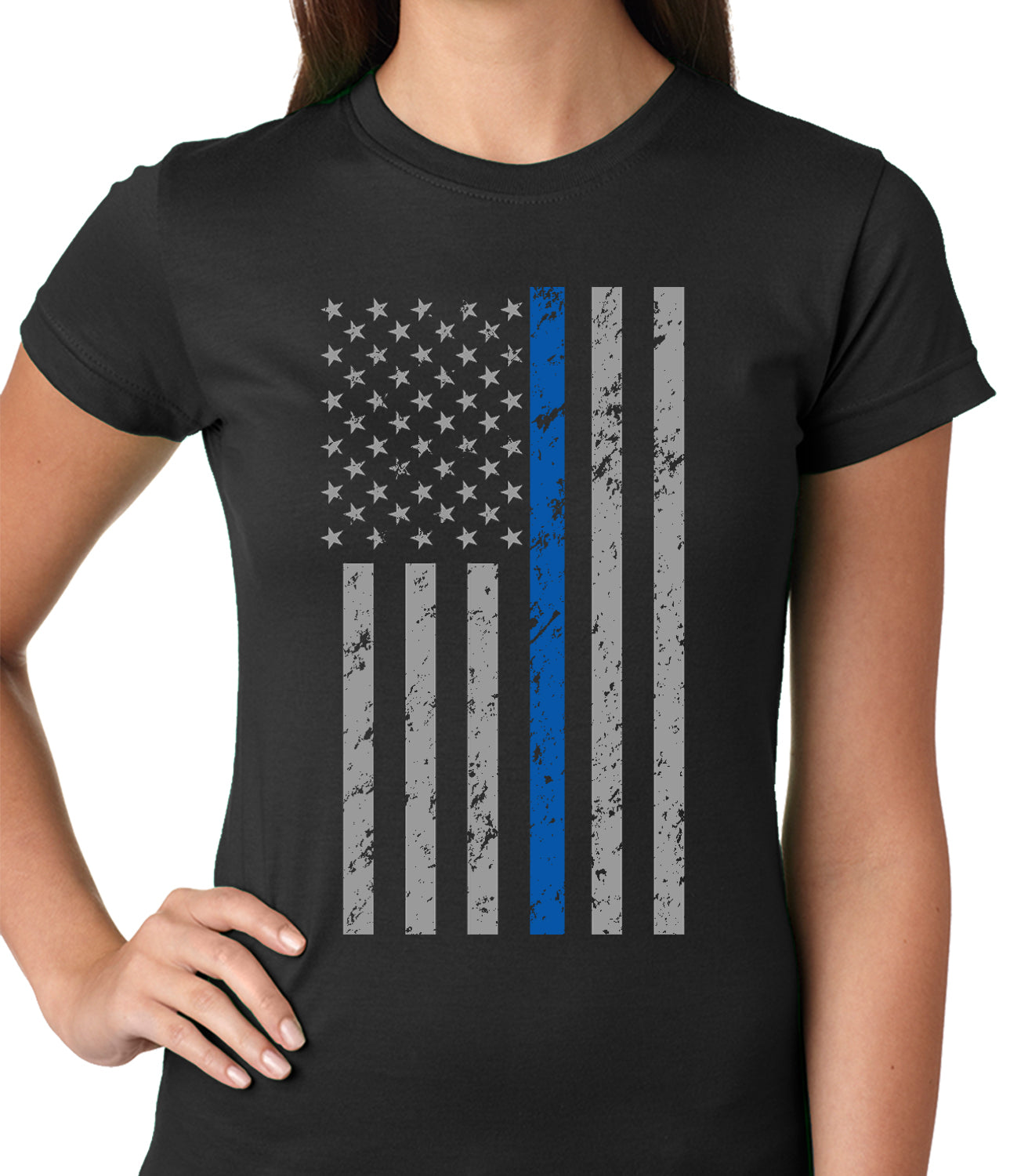 Police Thin Blue Line American Flag - Support Police Department Ladies T-shirt