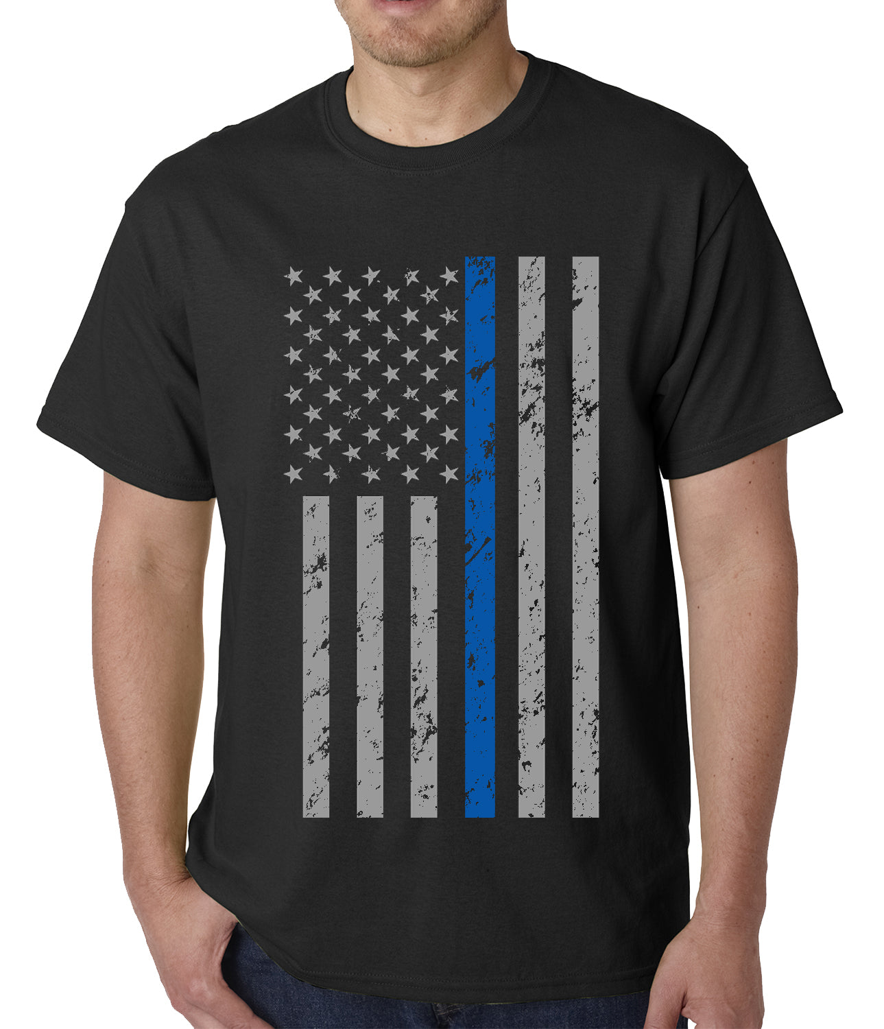 Police Thin Blue Line American Flag - Support Police Department Mens T-shirt