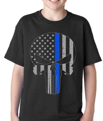 Police Thin Blue Line Skull American Flag - Support Police Department Kids T-shirt