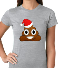 Poop Emoji Wearing Santa Hat Ladies T-shirt