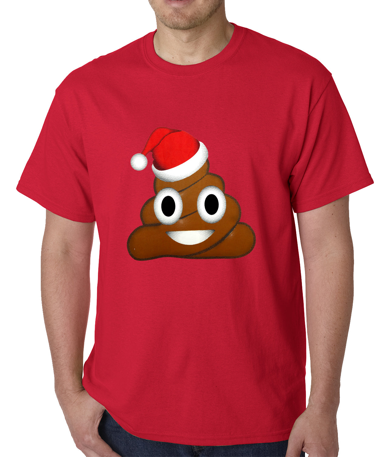 Poop Emoji Wearing Santa Hat Mens T-shirt