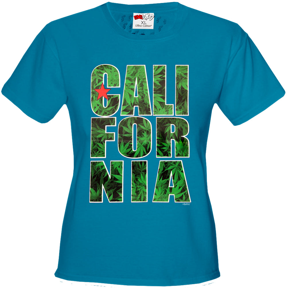 Pot Leaf California Girl's T-Shirt
