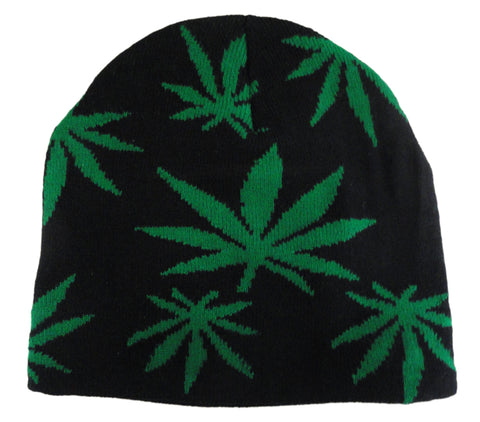 Pot Leaf Knit Beanie