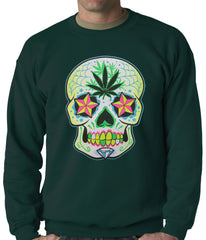 Pot Leaf Sugar Skull Crewneck