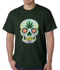 Pot Leaf Sugar Skull Mens T-shirt