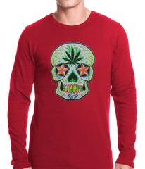Pot Leaf Sugar Skull Thermal Shirt