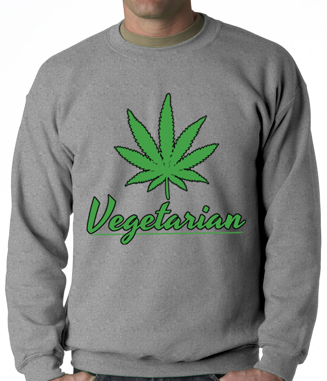 Pot Leaf Vegetarian Crewneck