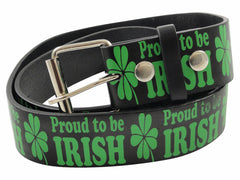 Proud To Be Irish Black Leather Belt