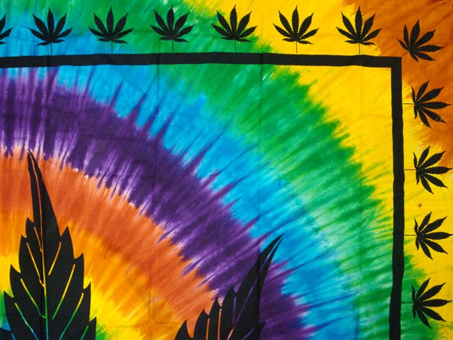 Psychedelic Pot Leaf Tie Dye Tapestry