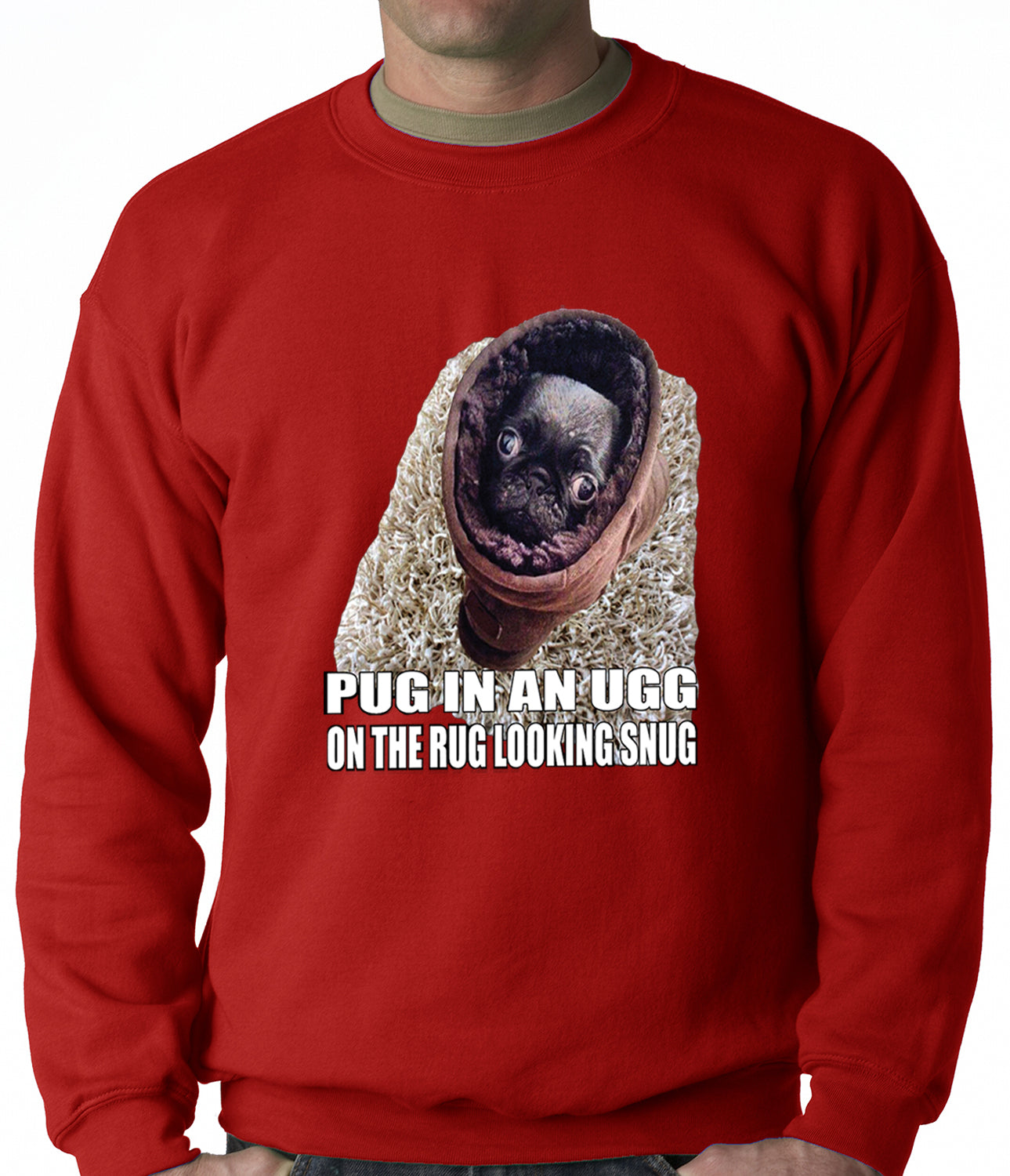 Pug In An Ugg On a Rug Looking Snug Adult Crewneck