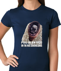 Pug In An Ugg On a Rug Looking Snug Ladies T-shirt