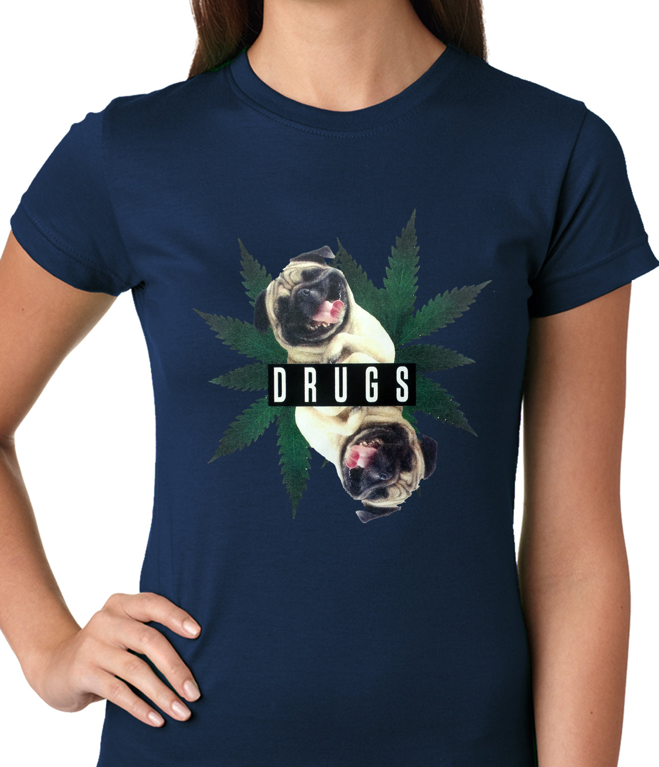 Pugs and Drugs Pot Leaf Ladies T-shirt