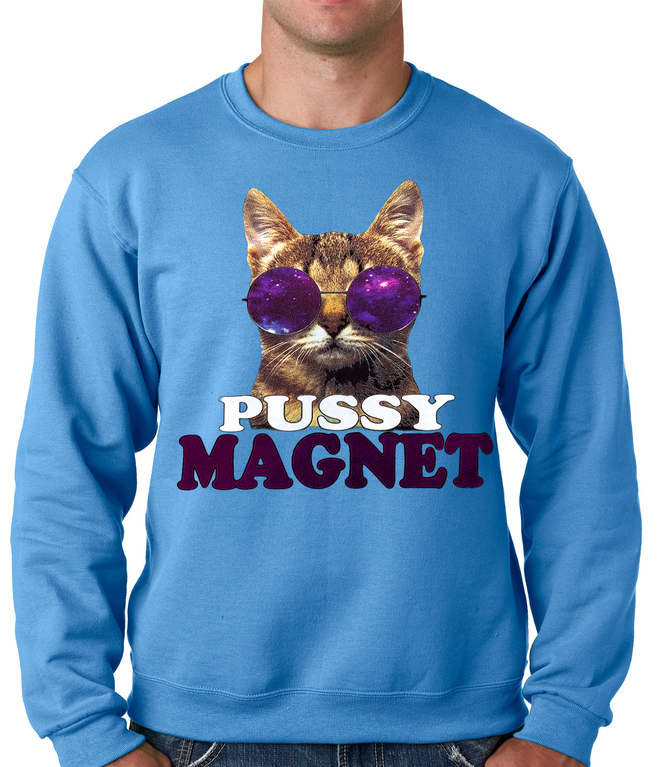 Pussy Magnet Funny Kitten Adult Crewneck