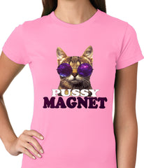 Pussy Magnet Funny Kitten Ladies T-shirt