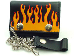 Raging Flames Genuine Leather Chain Wallet