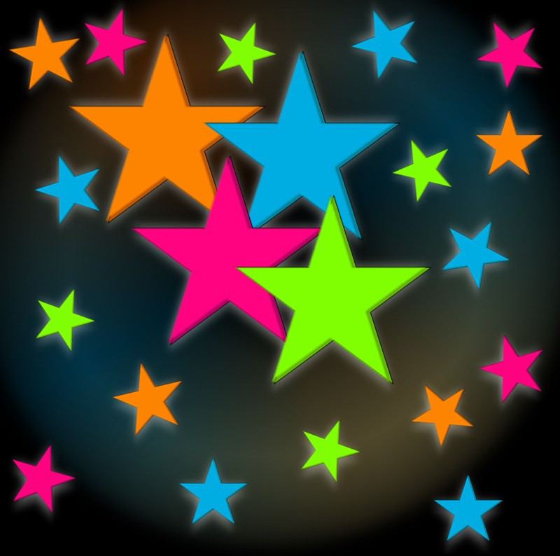 Rainbow Stars Glow in the Dark Wall Decorations (24 pack)