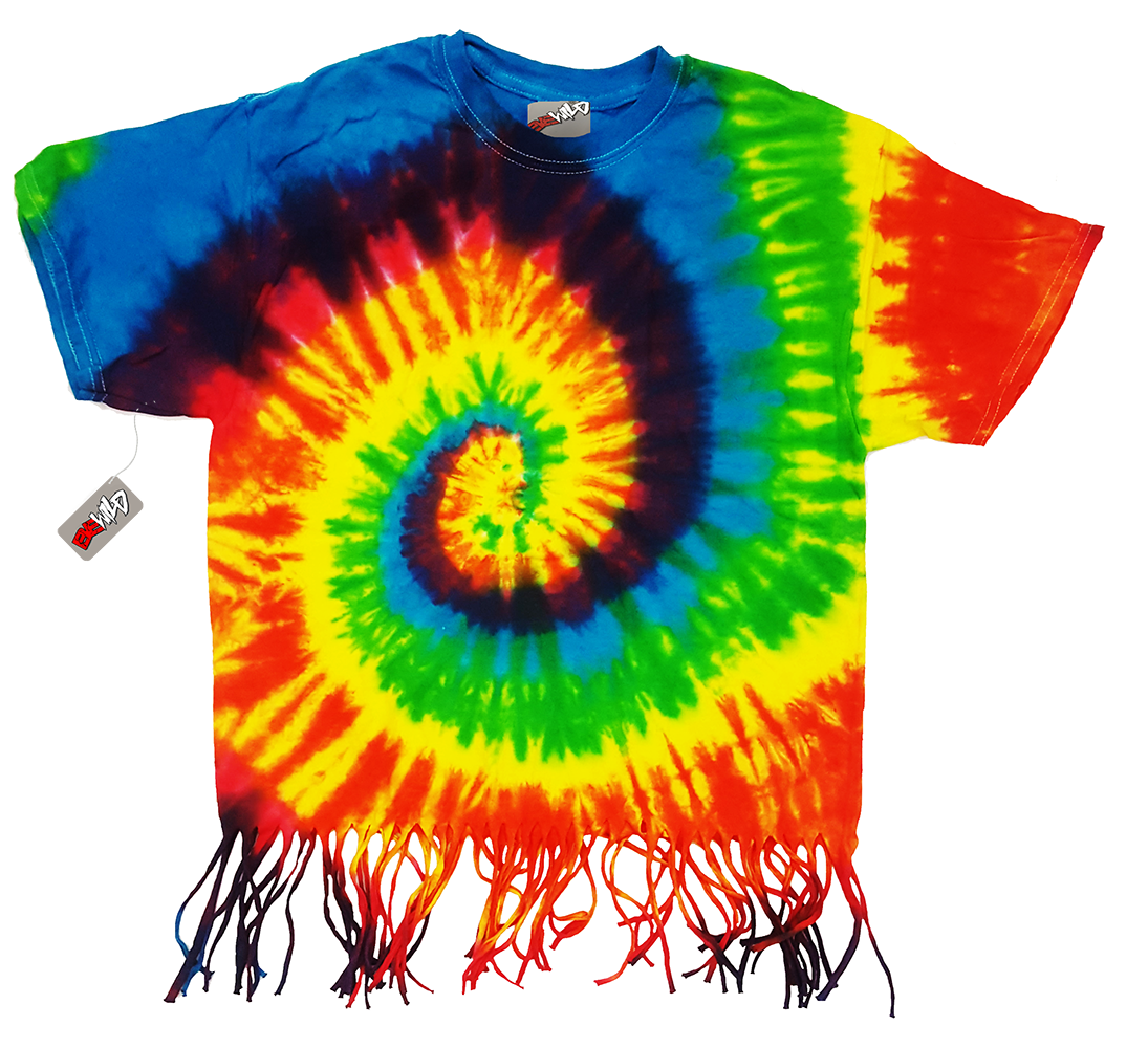 Rainbow Tie Dye Fringe Ladies T-shirt