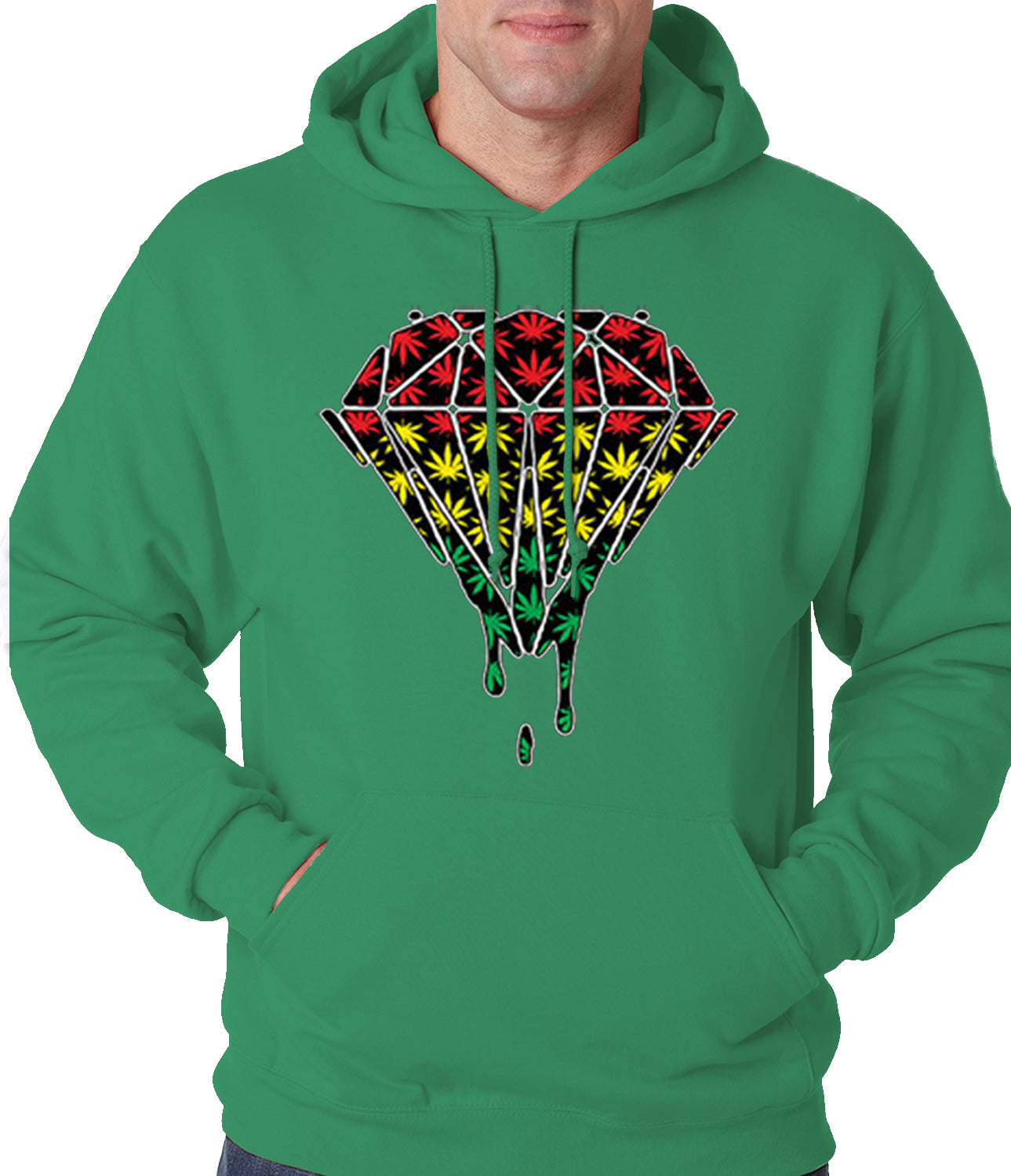 Rasta Pot Leaf Diamond Adult Hoodie