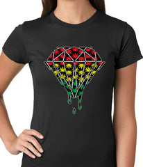 Rasta Pot Leaf Diamond Girls T-shirt