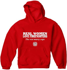 Real Women Love Firefighters  Adult Hoodie