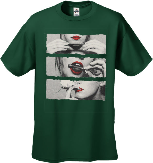 Red Lips Roll, lick & Light up Men's T-Shirt