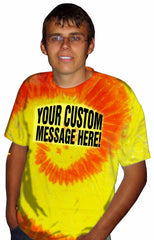 Personalized Custom T-shirts - Red Orange & Yellow Mens Custom Saying Tie Dye T-Shirt